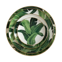 JC Cheap Banana Leaf Design Bone China Charger <strong>Plate</strong>