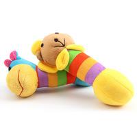 Long shape rainbow lion squeaky dog plush toys
