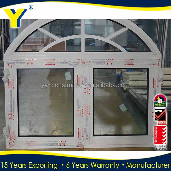 Low-e double glazing glass for doors and windows/top arched aluminium french window/aluminium casement window