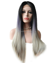 fashion two tone purple to grey long straight ombre Synthetic Lace Front Wig