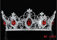 "Pageant 3.5"" Full Circle Tiara Simulated Red Crystal King Queen Crown jewelry tiara wedding crown"