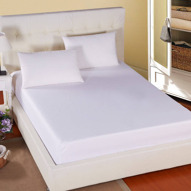 Pure White 100% Polyester Plain Bed Fitted Sheet For Hotel / Hospital