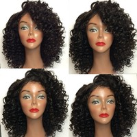 Top quality kinky curly virgin hair lace front wig for black man wholesale