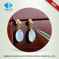 Handcraft Gold Plated Filigree with Natural Blue Agate Earrings