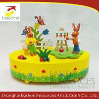 Oval Shape Easter Musical Box with Rabbit