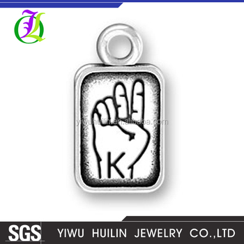 CN185787 Yiwu Huilin jewelry Silver Plating Hand gesture Charms Jewelry Alphabet K Letter Pendants