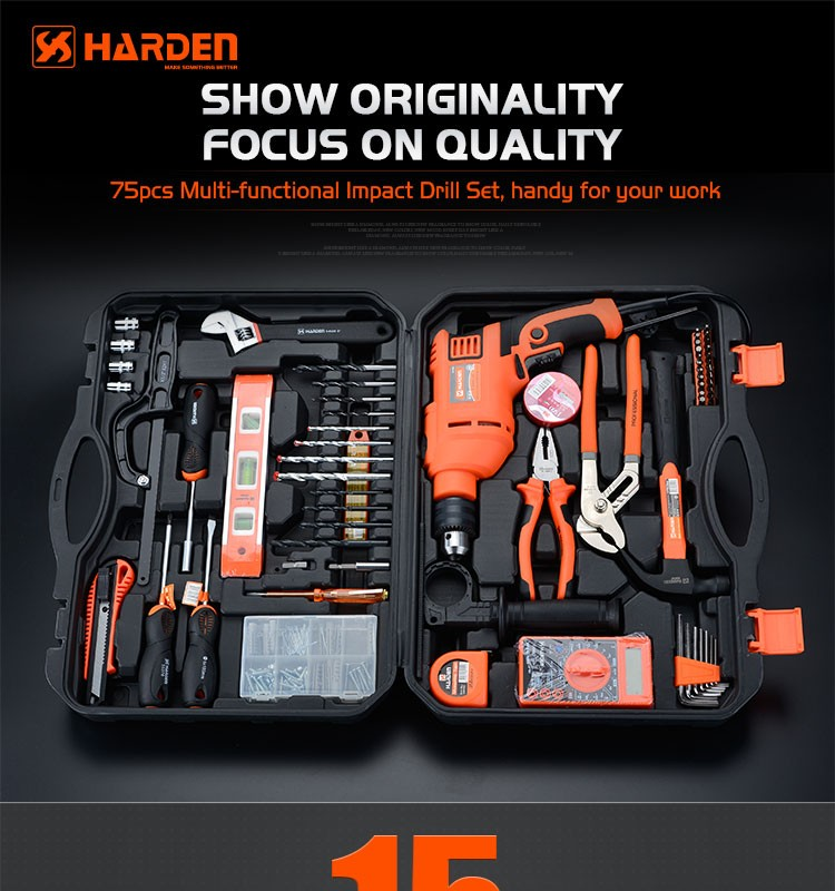 hand tool sets 250cc automatic motorcycle 75pcs multi-functional impact drill set