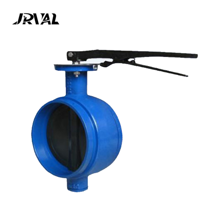 JRVAL signal gear box wrom wheel carbon steel grooved butterfly valve in March Expo