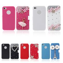 Big Sales Personalized Flip Leather Bling Flower Case Cover PU Leather for iPhone 4 4s Rose Durable Fashionable