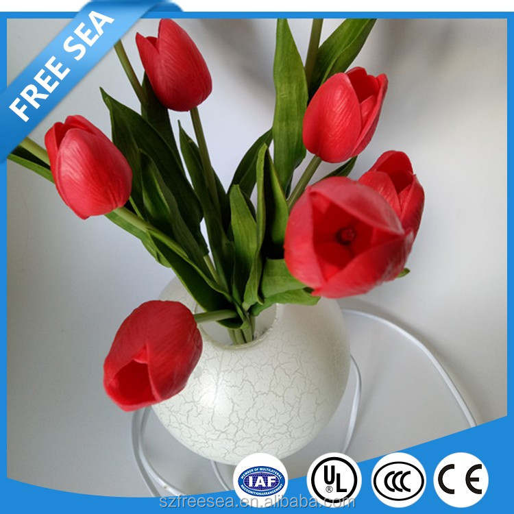 wonderful artificial tulip flower vase led table lamp for home decoration