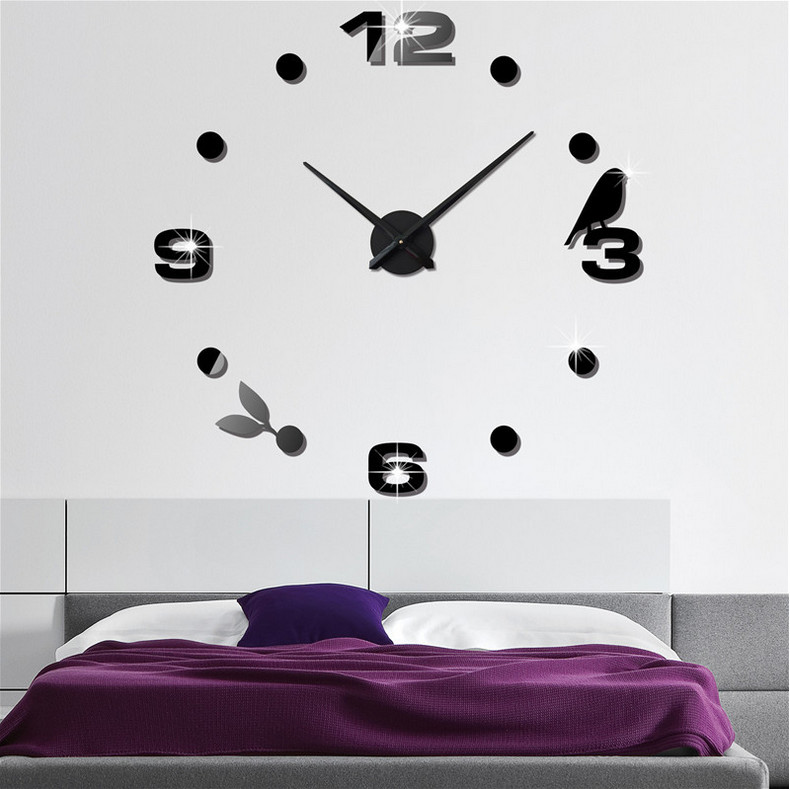 wall clocks diy large wall sticker clock 3d mirror surface sticker