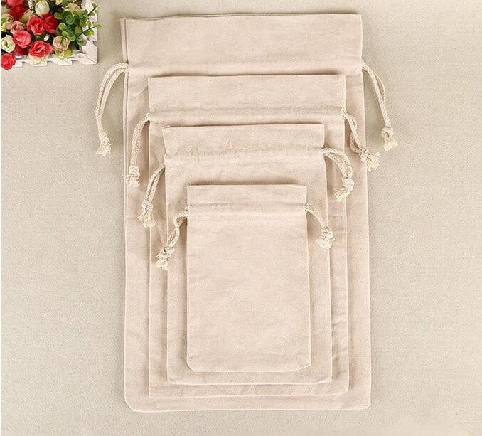 Custom Gift Muslin bag Grocery Storage drawstring Cotton Bag