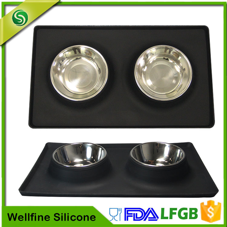 Wholesale Stainless Steel Dog Bowl Silicone, Silicone Pet Bowl Feeder Collapsible Dog Bowl Mat