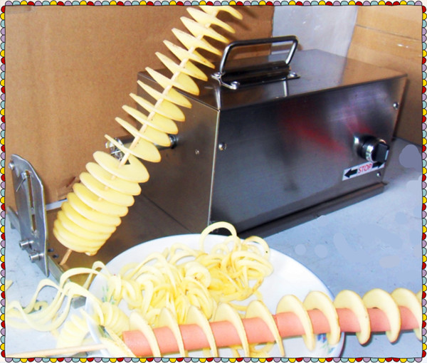 2015 Great Quality Electric Spiral Potato Curly Fry Cutter Machine from Supplier, CE Approved, Full S/S