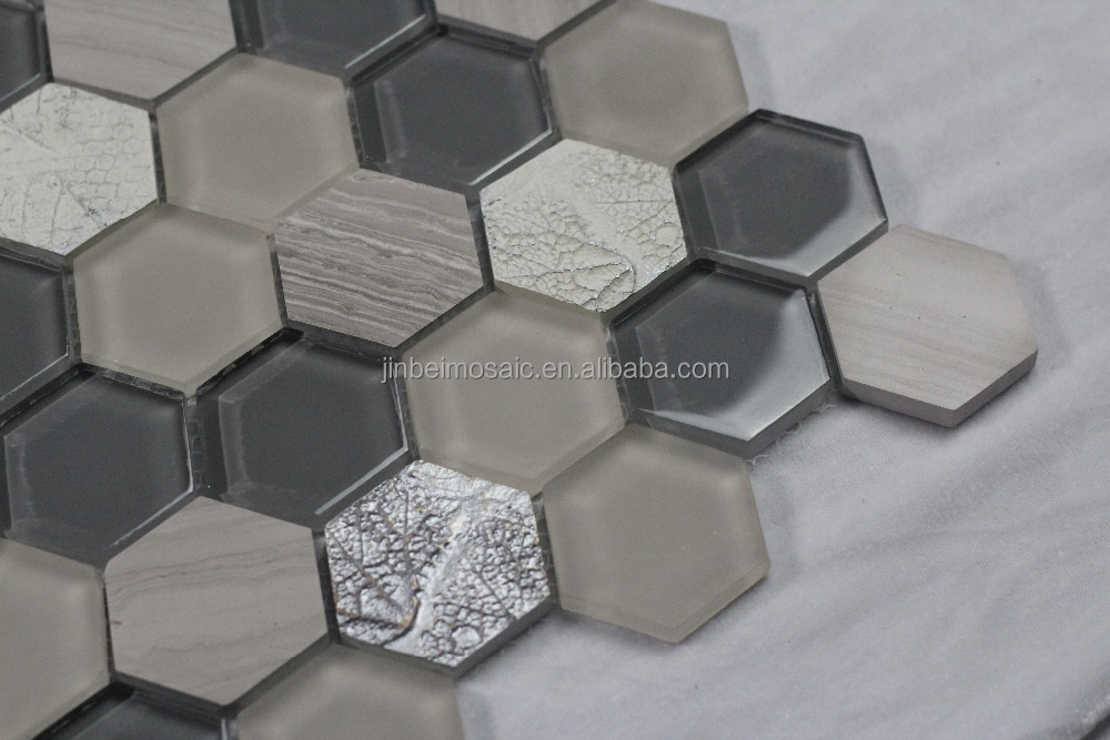 Luxury decoration hexagon crystal glass Mosaic tiles