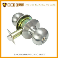 201SS Best seller stainless steel finish cylindrical button keyed door knob ball lock