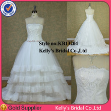 Real Sample Strapless A-line Irish Lace Wedding Dresses
