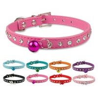 US Hot Sale Diamante Bling Small Dog Cat leather Collar With Bell
