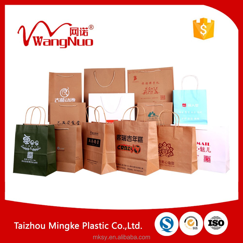 Foldable custom printing shopping paper bags with handles