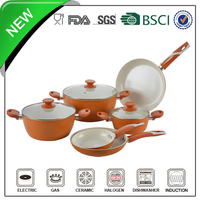 9pcs Porcelain camping cookware with orange bakelite handle