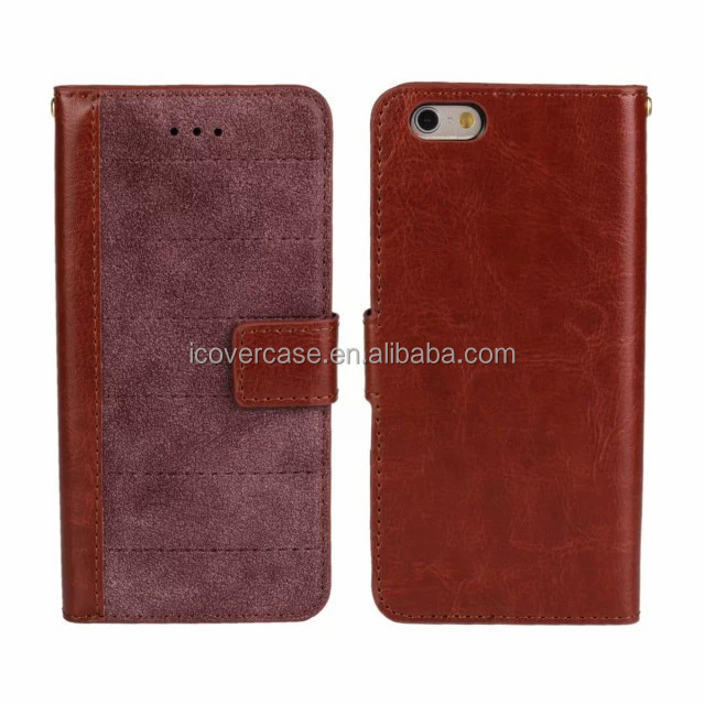 2015 hot matt leather wallet case for iPhone 6, for iPhone 6 cover case pouch