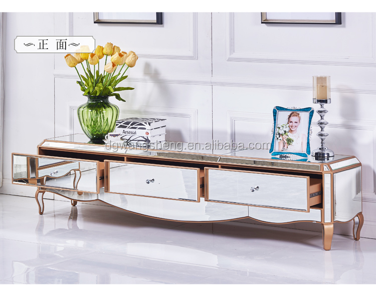 3 Drawers European Style Mirror Glass TV Stand Cabinet