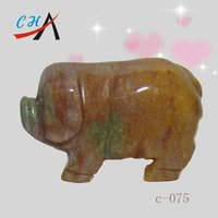 India Agate Stone Pig Sculpture & Small Stone Animal Carving