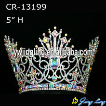 All AB Stone Beauty Queen Full Round Pageant Crown For Princess