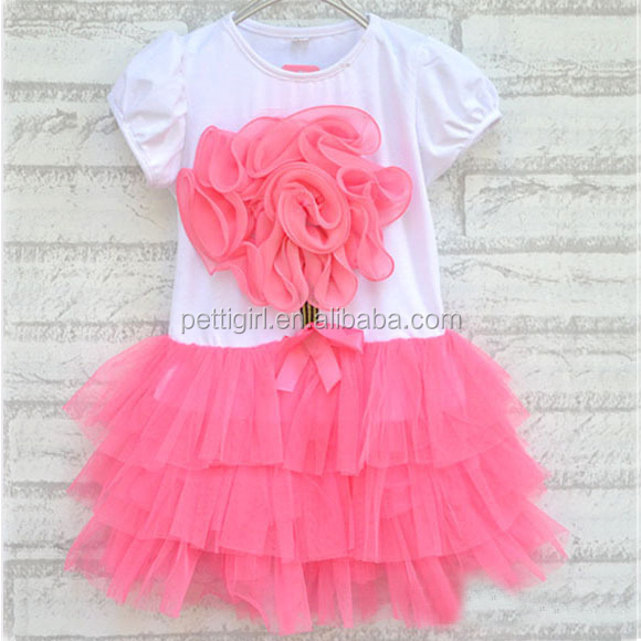 New 2016 Summer Girl Dress Big Flower Tshirt Dresses Red Ball Gowns for Children Kids Clothes Free Shipping GD40318-8