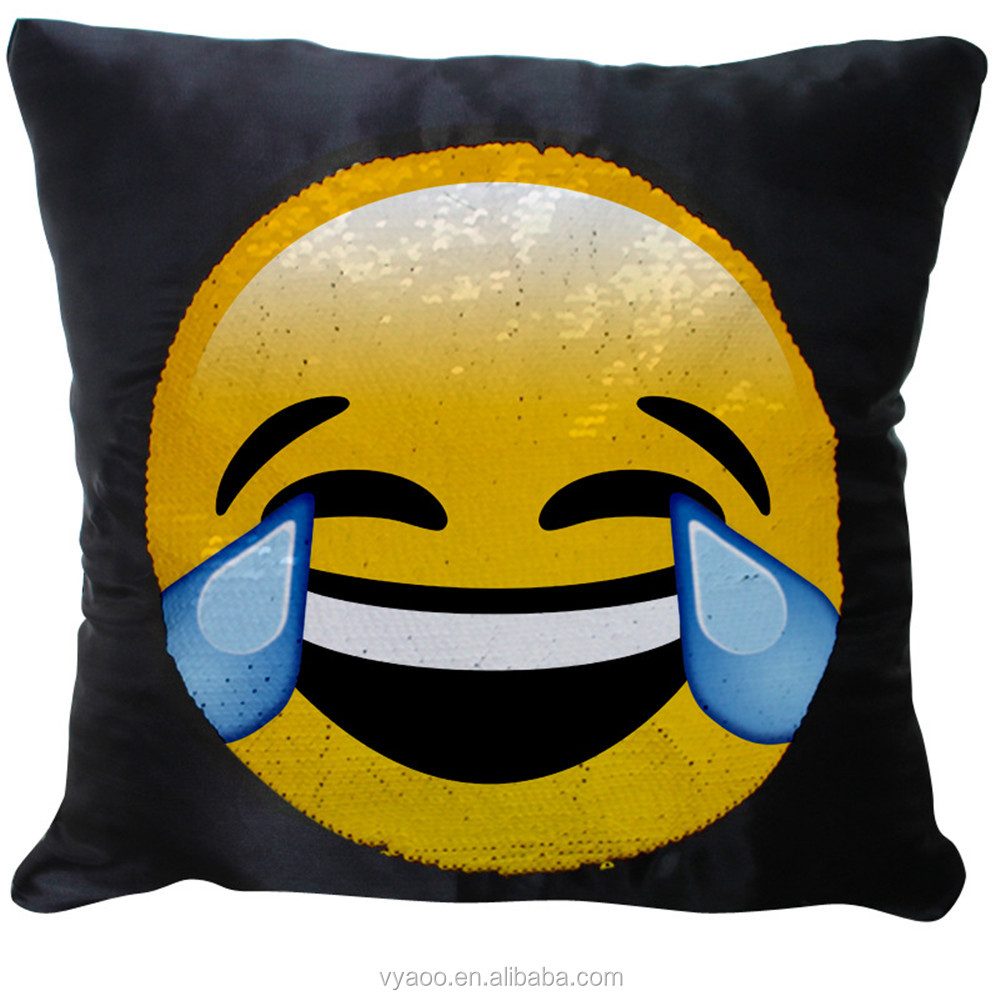 2017 high quality Mermaid pillows reversible sequin Emoticon pillow emoji