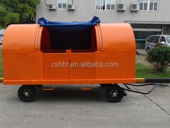 4 wheels Trailer Hot galvanized Steel Canopy cargo and baggage and luggage trailer cart for airport and railway transportation