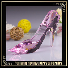 ladies pink glass high heel shoes for party gifts decoration