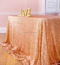 Rose Gold Rectangle Rose Gold Sequin Table cloth 90x156in Sequin Table Linen Drop to Floor for Wedding Banquet Decoration