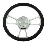 14inch half wrap genuine leather chrome aluminum forging steering wheel
