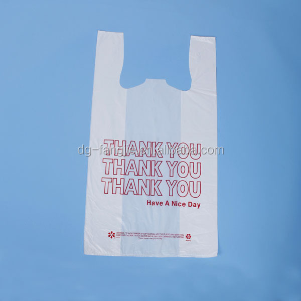 recycled material printed plastic shopping t-shirt vest handle bag thank you bag for packing