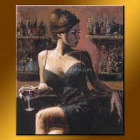 Modern famous art paintings images, Handmade Sexy Bar Girl Painting