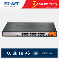 PoE schedule,Loopback protecting 24 ports POE Switch 48V,full managed gigabit poe switch af/at 450Watts,with 2 SFP slot