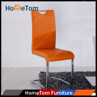 Hometom Best Selling Chrome Finishing Metal Frame PU Leather Kitchen Dining Chairs