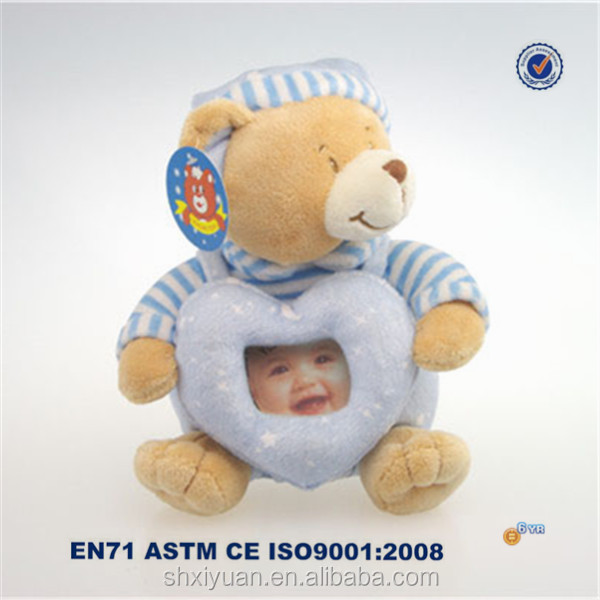 Hot style blue stuffed toy photo frame plush picture frame plush bear toy