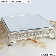 2017 hot decoration Silver crystal metal cake stand wedding ,crystal cake decoration,cake stand wedding decoration (CAKE-012)