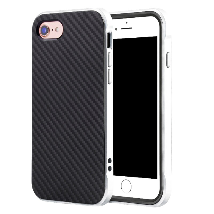 Synthetic Carbon Fiber Texture TPU Shockproof PC Metal Aluminum Frame Cell Phone Cases for iPhone 7 Plus