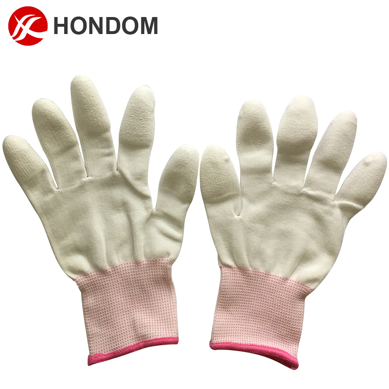 seamless knitted ESD gloves with pu coated on finger