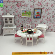 1:12 Scale 7 Pcs Wooden Dollhouse Dinning Room Set Miniature Furniture
