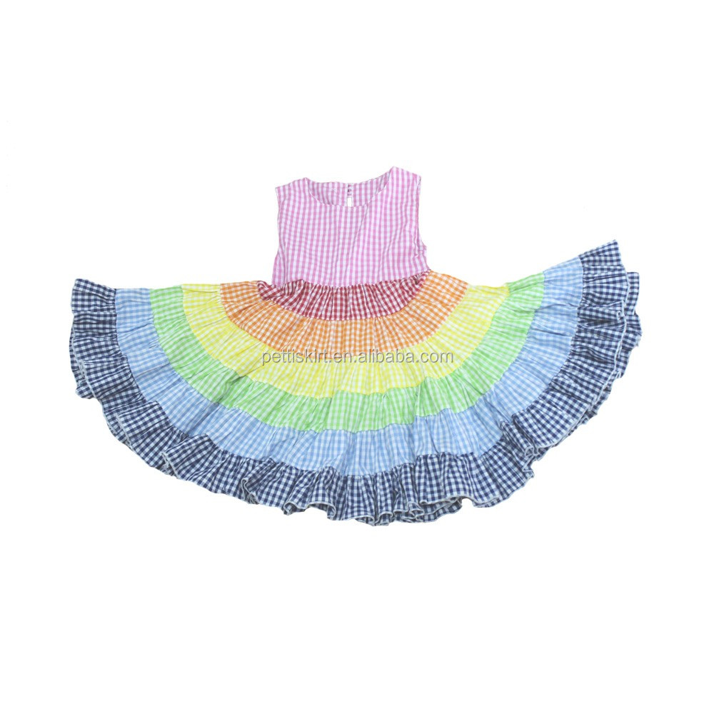 Newest Kids Rainbow Pattern Frocks Children Colorful Frilly Dresses