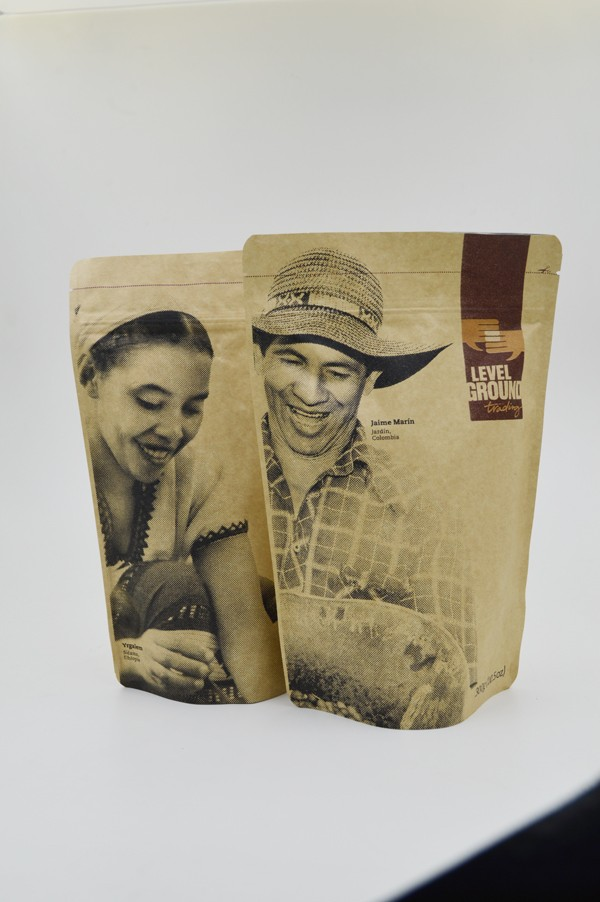 Brown Kraft Paper bag for coffee Beef Jerky Packaging