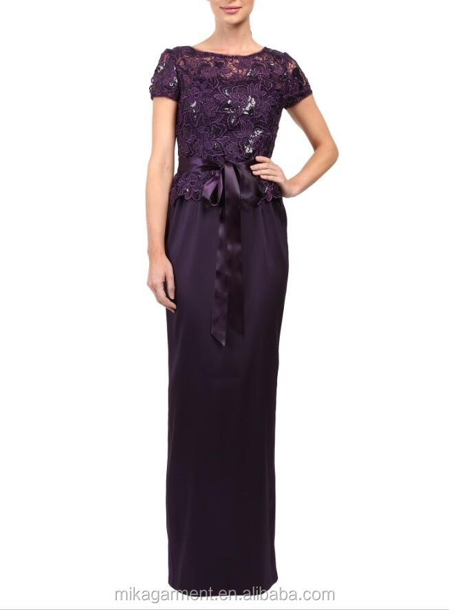 MIKA2181 Purple Sequin Lace Evening Dress With Bow Tie