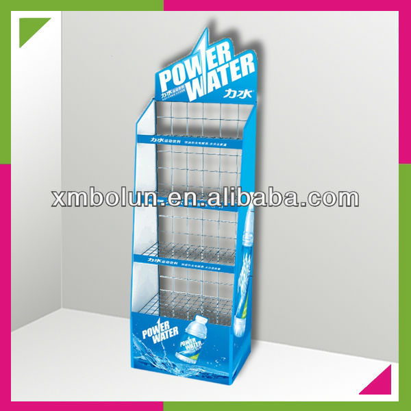 metal sided floor display stand for bottles