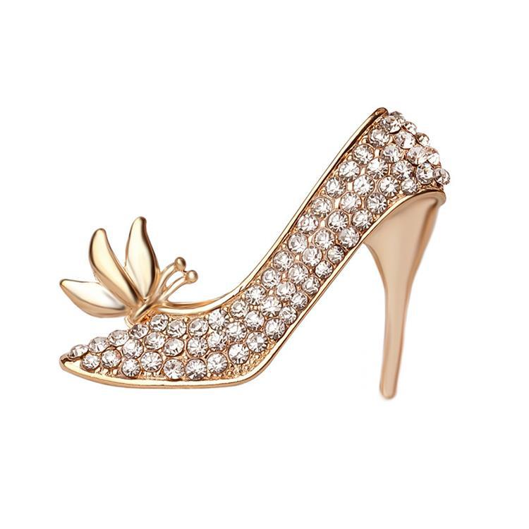 fashion jewelry 2016 women top sale gold plate metal high-heeled shoes rhinestone brooch
