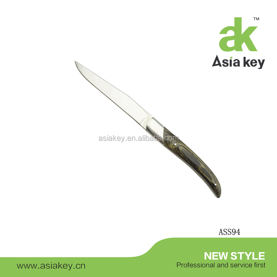 4.5 Inch Pakka Wood Handle Steak Knife with Mirror Polish Blade