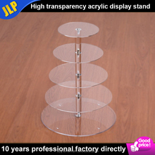 Round 5 Tiers Clear plexiglass wedding cake display stand acrylic cake showcase acrylic cake display